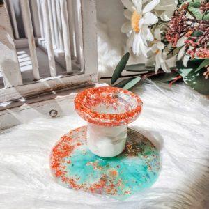 Seafoam & Rose Gold Mini Resin Candle Holder Candelabra