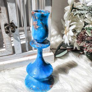 Ocean Blue Resin Candle Holder Candelabra