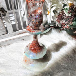 Seafoam Green & Rose Gold Resin Candle Holder Candelabra