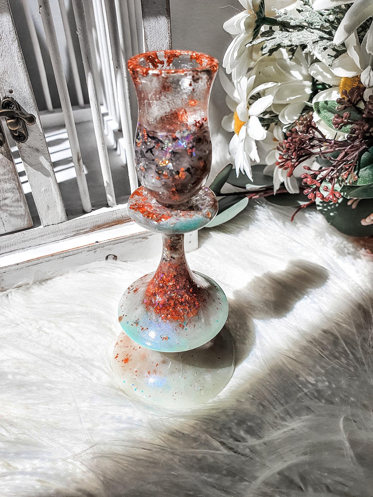 Seafoam Green Rose Gold Resin Candle Holder Candelabra Kook Village