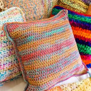 Rainbow Pink Multi-colour Cotton Square Crochet Cushion