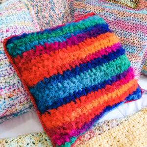 Fluffy Bright Rainbow Stripe Mohair Crochet Cushion