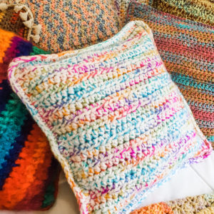 Rainbow & Frosted White Mixed Square Crochet Cushion