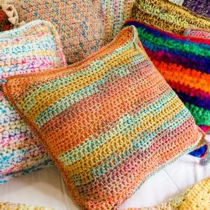Rainbow Orange Multi-Colour Cotton Square Crochet Cushion